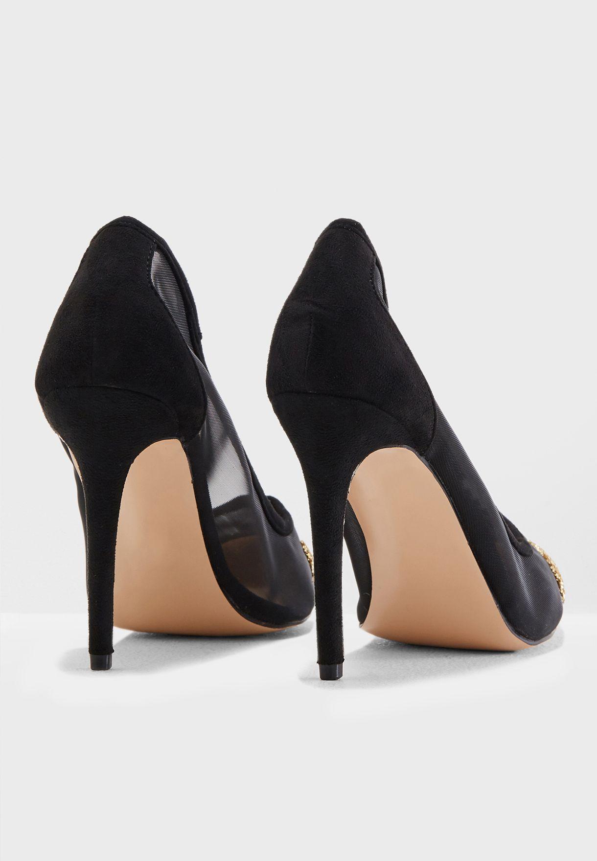 Chelsea Glitter Toe Mesh Court Heel