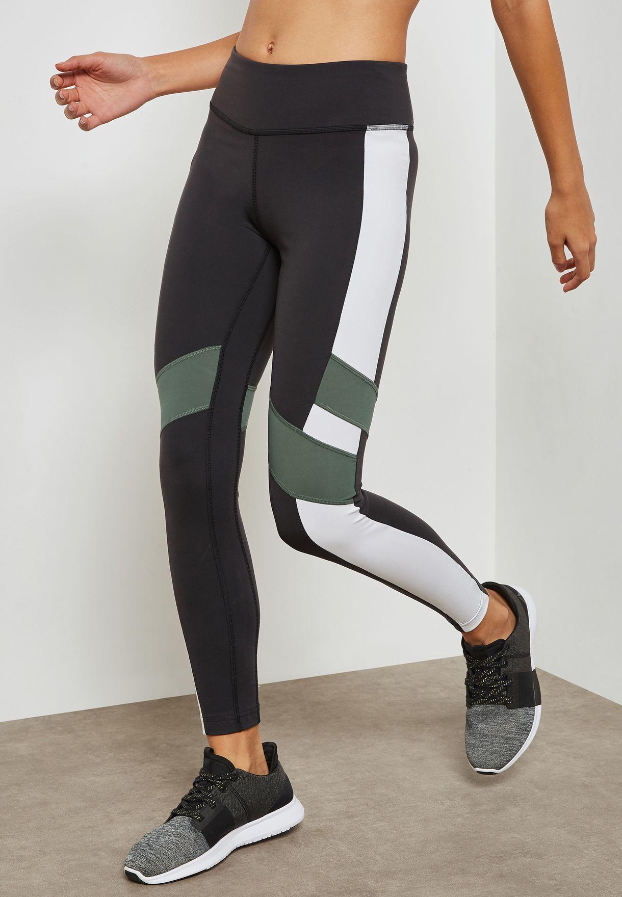 293109e866a05 Shop Reebok multicolor Lux Colour Block Leggings D94129 for Women in ...