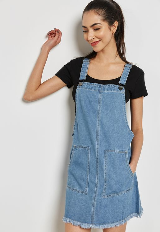 4f73c453e Frayed Hem Denim Pinafore Dress
