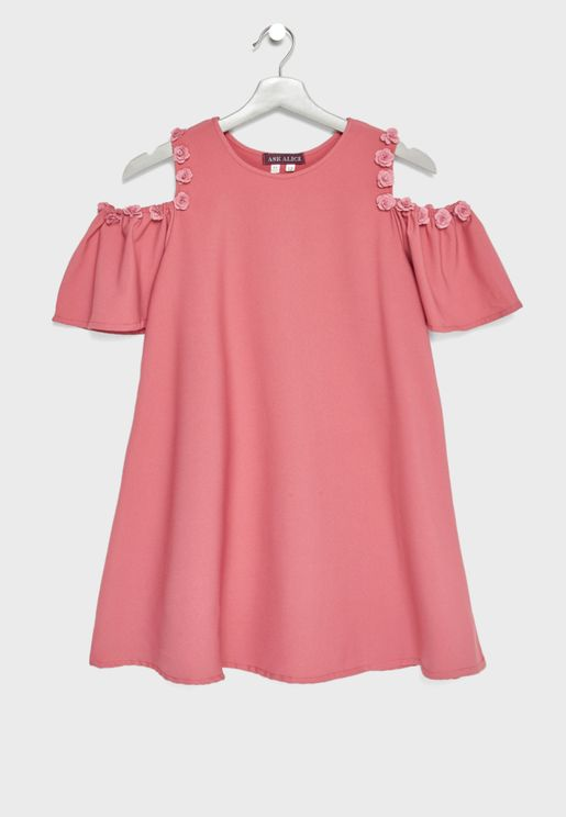 Teen Cold Shoulder Pleated Sleeve Dress