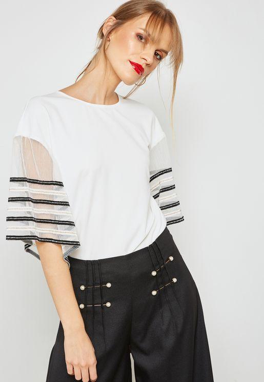 Stripe Mesh Sleeves Blouse