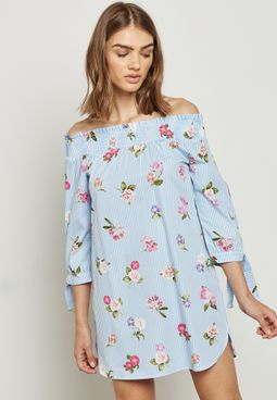 Tie Sleeve Bardot Dress