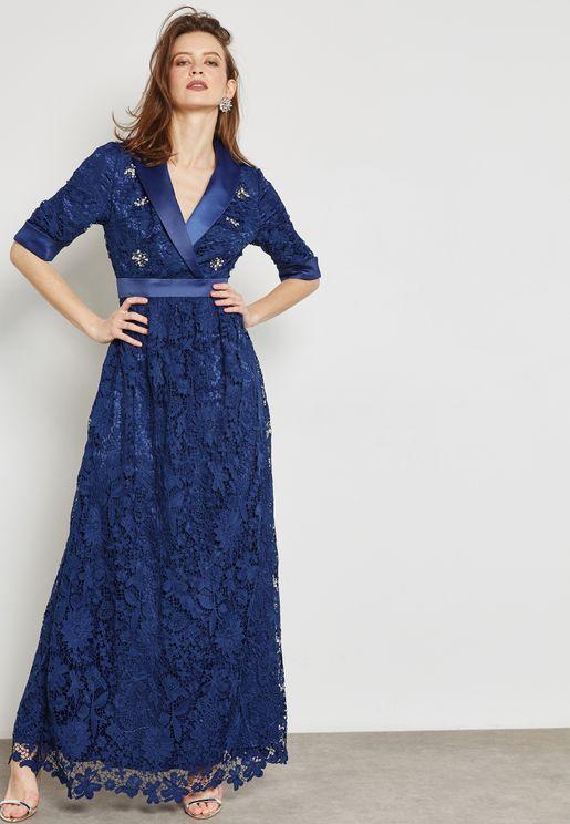 Surplice Lace Maxi Dress