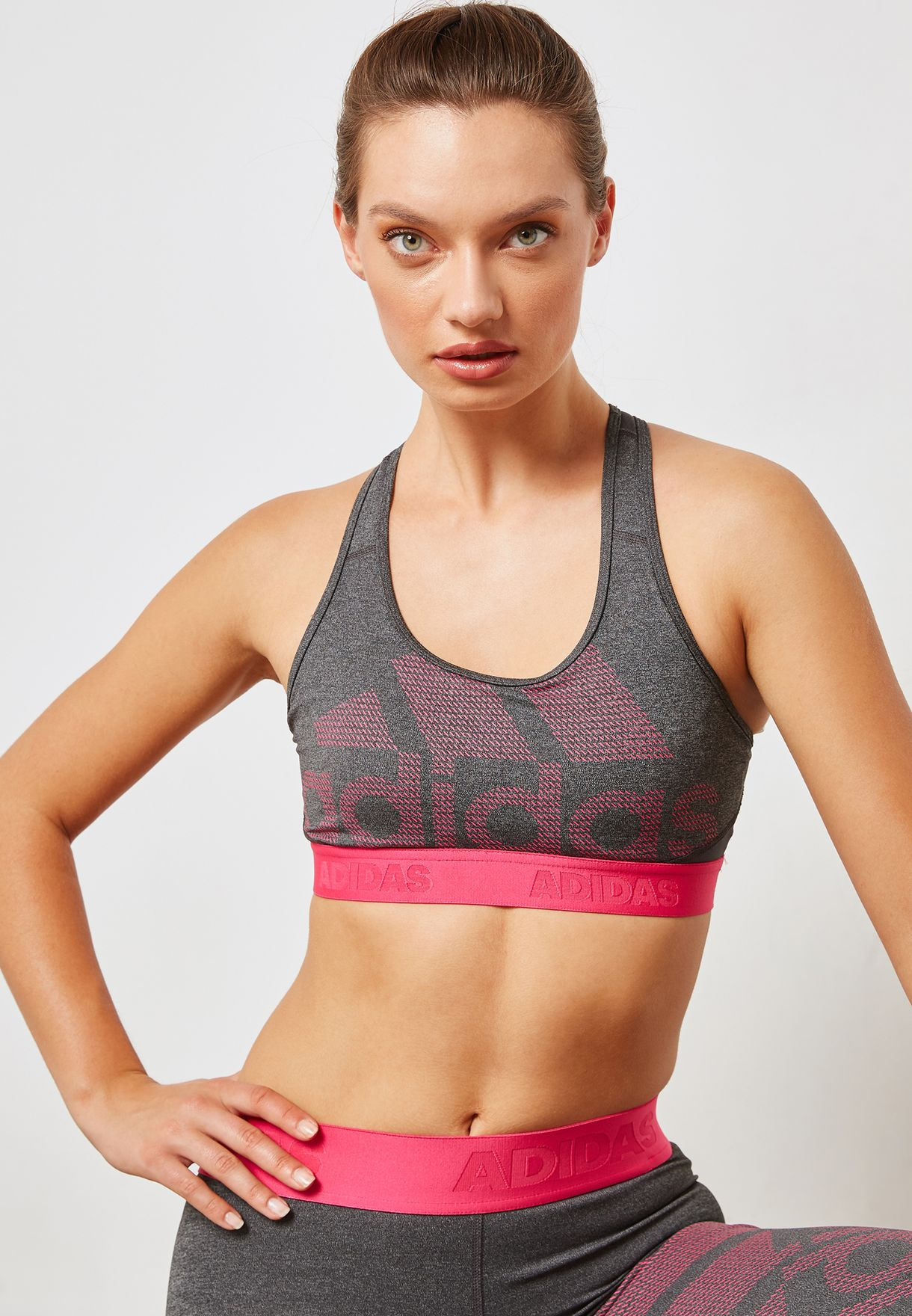 91fee1915726c Shop adidas grey Don  39 t Rest Alphaskin Sports Bra CZ1806 for ...