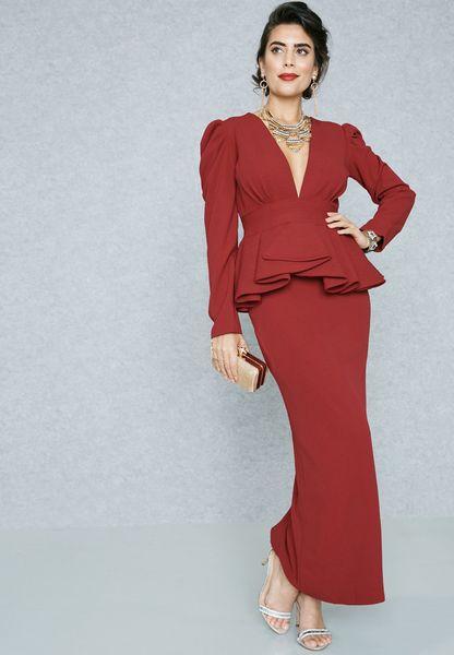 Plunge Neck Peplum Detail Dress