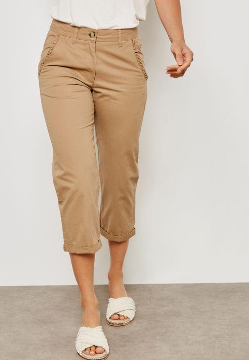 Ruffle Pocket Detail Crop Pants