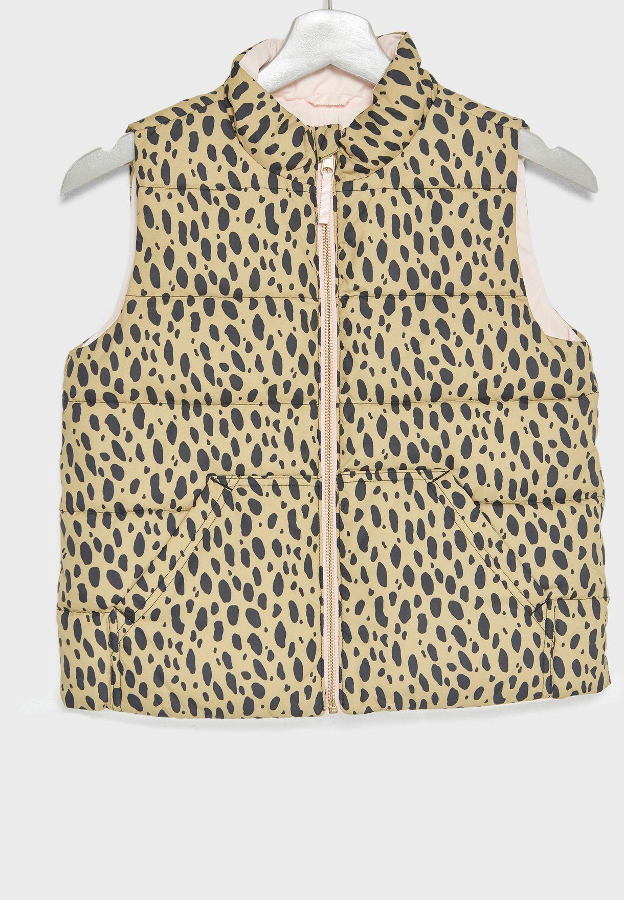 Teen Leopard Print Puffer Gilet