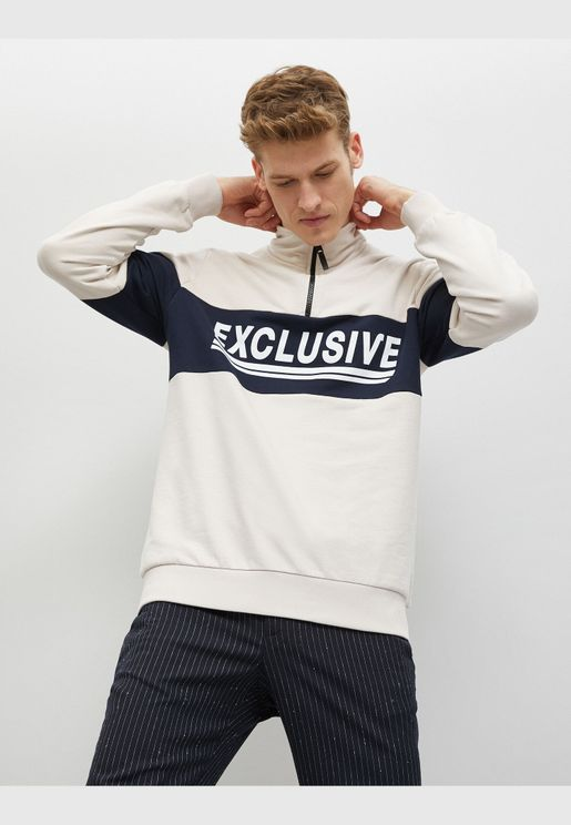 Cotton Letter Printed Zipper Detailed Stand Neck Sweatshirt