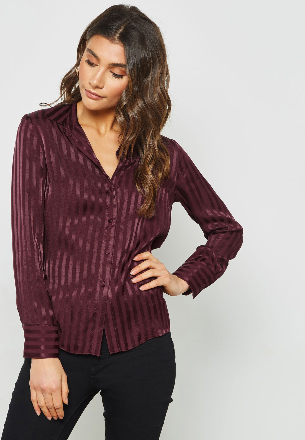 c5164918 Shop Topshop burgundy Long Sleeve Striped Shirt 13K10PWNE for Women ...