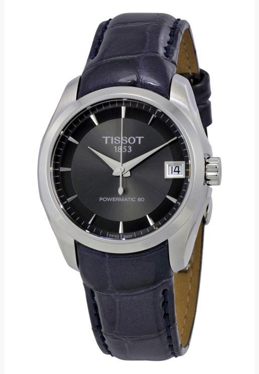 ساعة تيسو كوتورييه أوتوماتيكية بسوار جلدي - T035.207.16.061.00