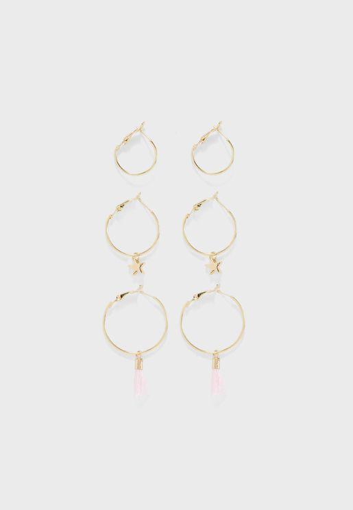 Set Of 3 BFF Earrings