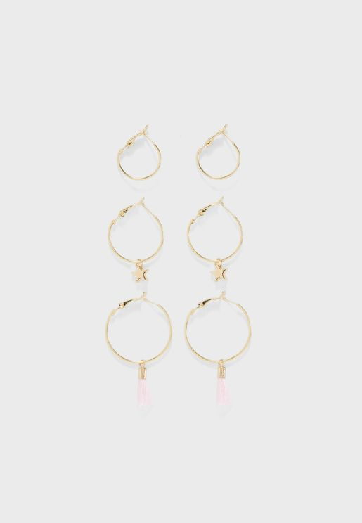 Set Of 3 BFF Earrings