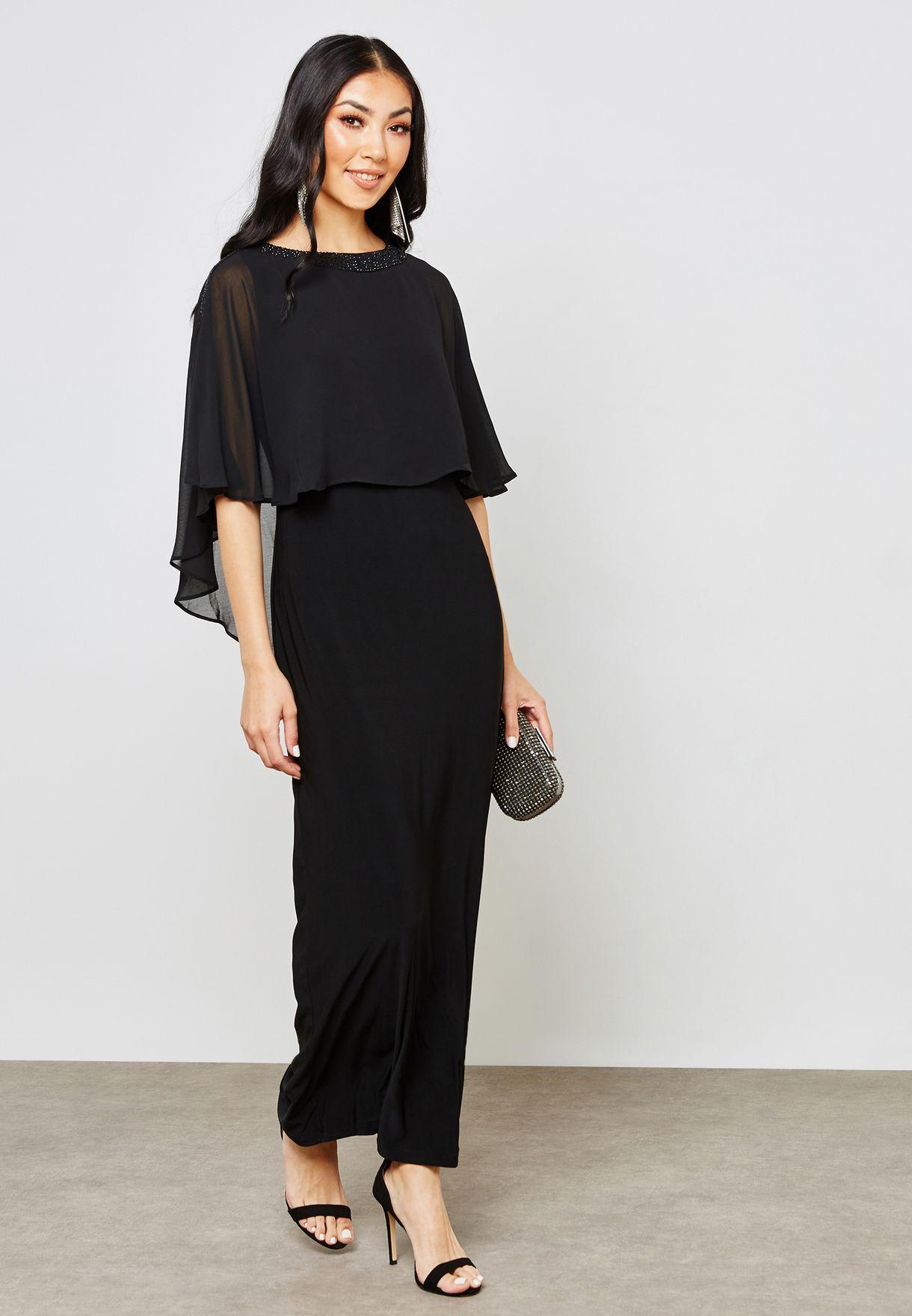 fa8151eabf23 Shop Wallis black Overlay Maxi Dress 156602001 for Women in UAE ...