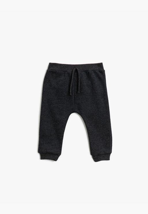 Drawstring Basic Jogging Pants