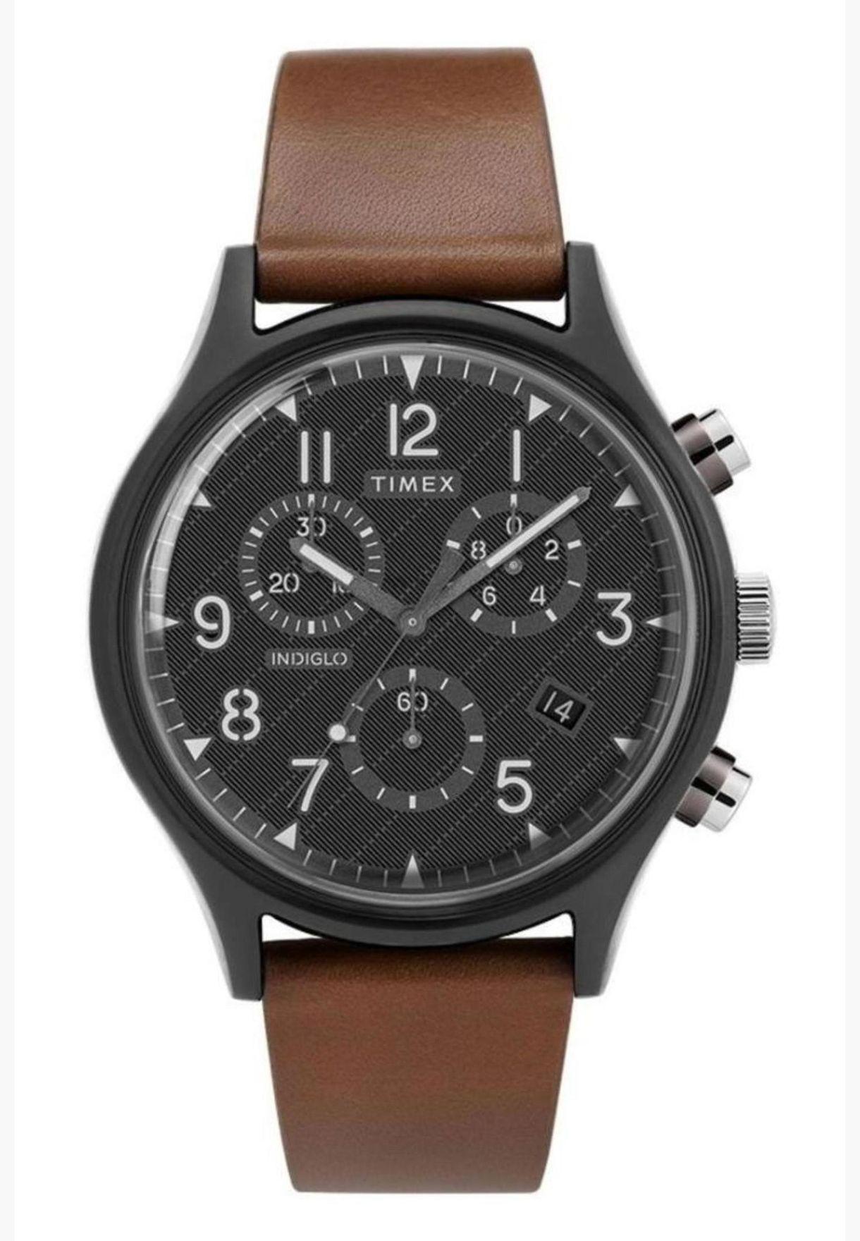 ساعة تيميكس ام كي 1 ستيل سوبرنوفا كرونو بسوار جلدي للرجال - TW2T29600
