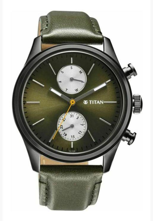 ساعة تيتان للرجال بقرص أخضر من الجلد الأسود - T1805QL01