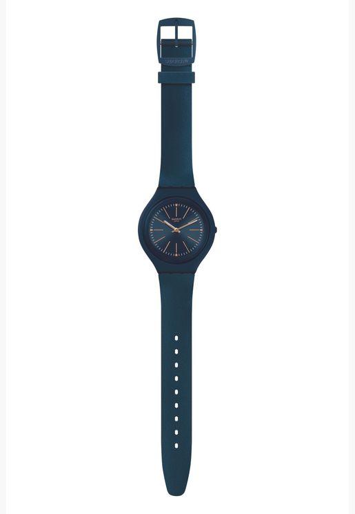 ساعة سواتش جلد بيج بسوار سيليكون للجنسين - SVUN109