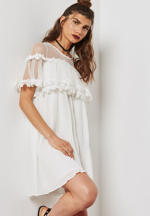 Lace Detail Pleated Smock Dress
