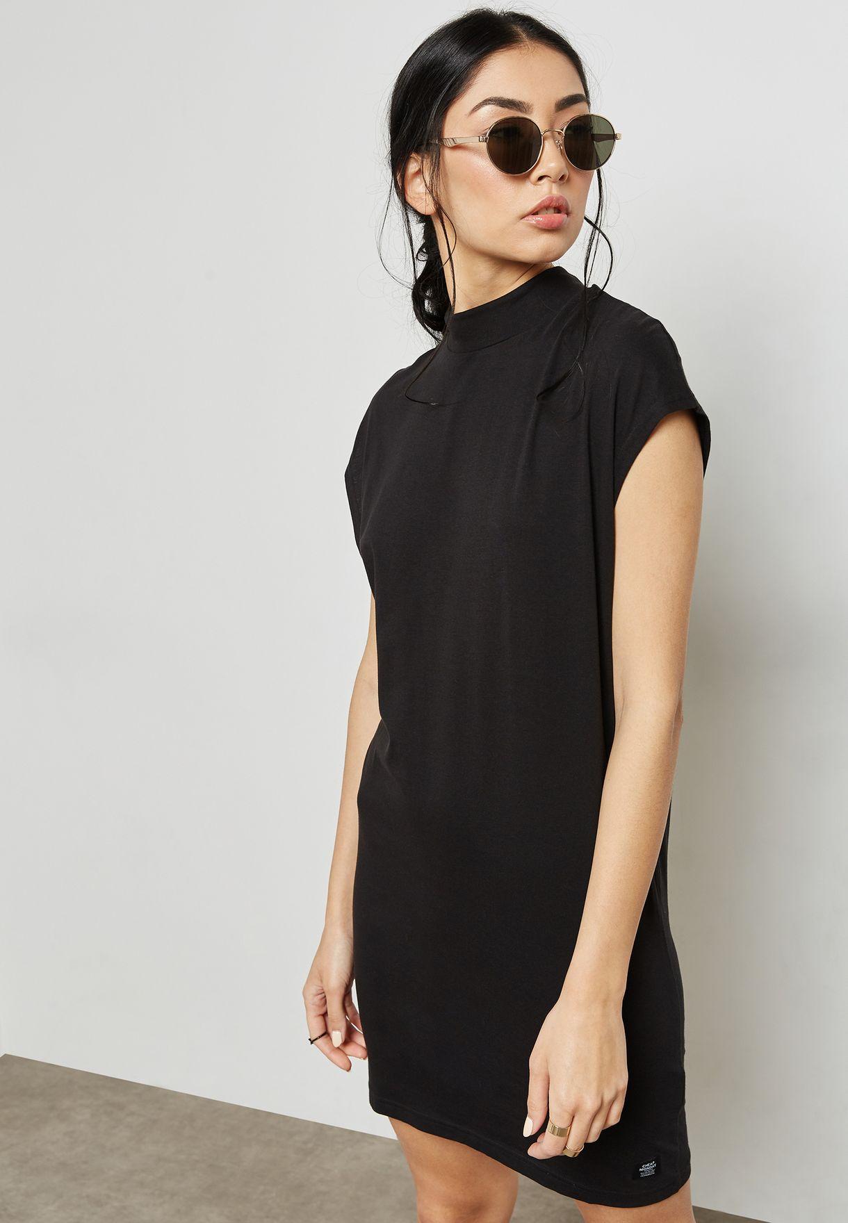 172aad753b602 Shop Cheap Monday black High Neck T-Shirt Dress 0476030 for Women in ...