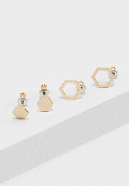 2 Pack Hexagon Stud Earrings