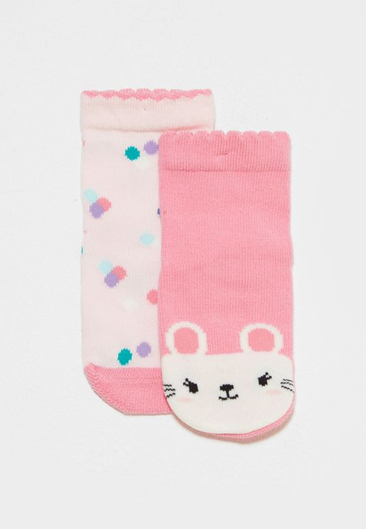 Little 2 Pack Mouse Dot Socks
