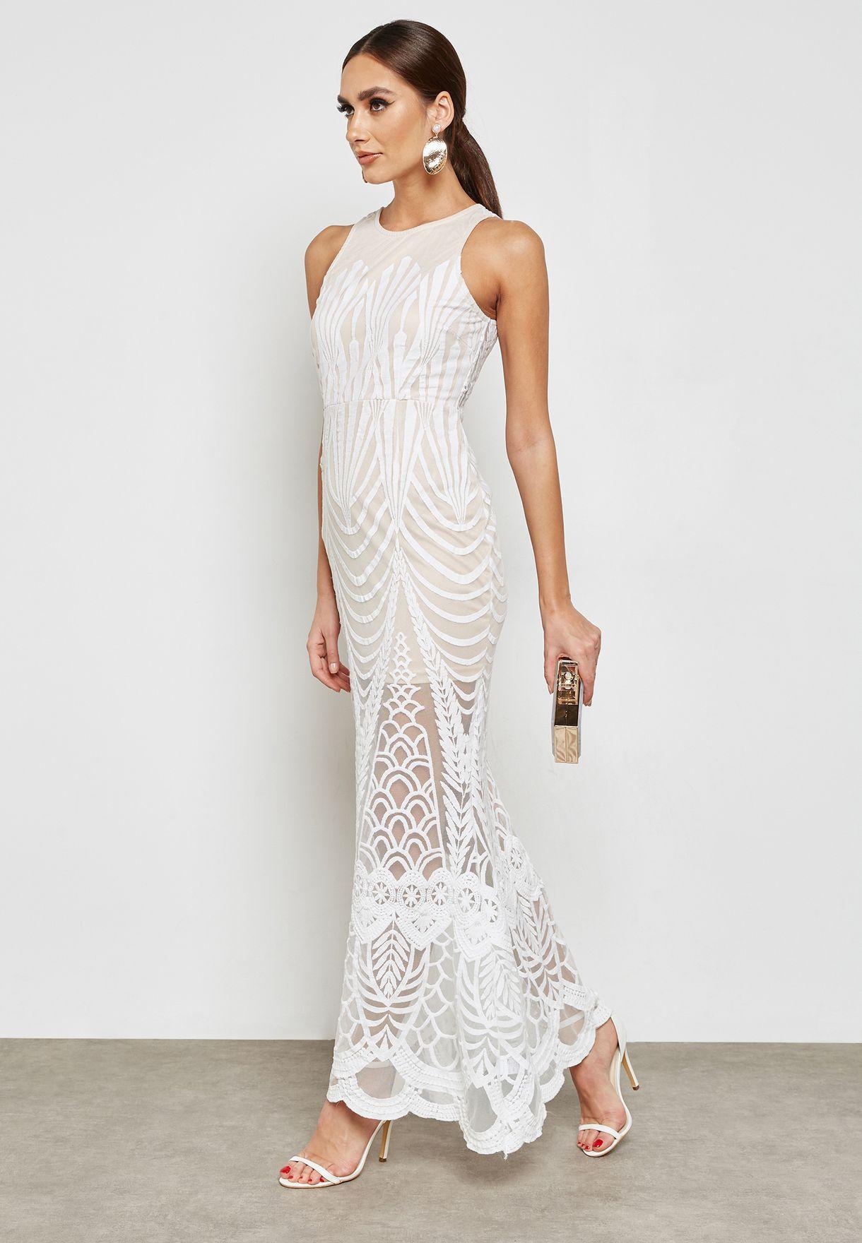 Lace Mesh Overlay Dress