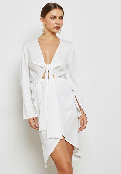 Plunge Knot Midi Dress