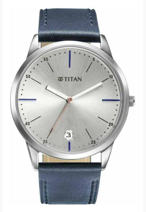 ساعة تيتان للرجال المنت مينا رمادي جلد ازرق - T1806SL09