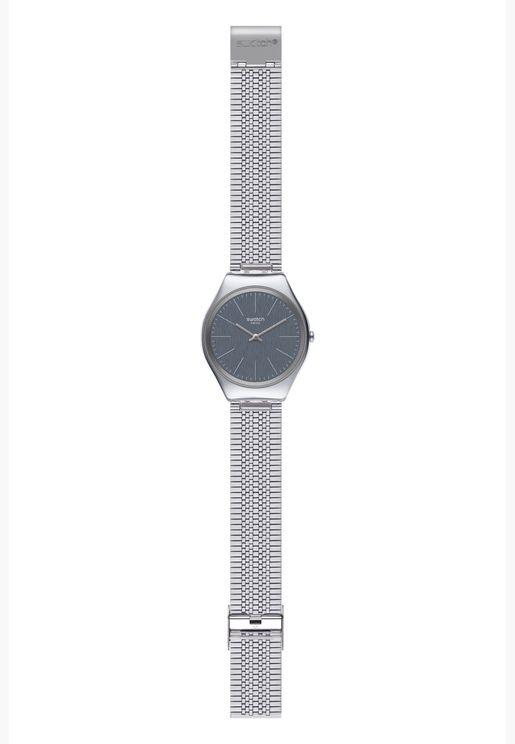 ساعة سواتش جلد ايرونى 38 بسوار ستانلس ستيل للجنسين - SYXS122GG