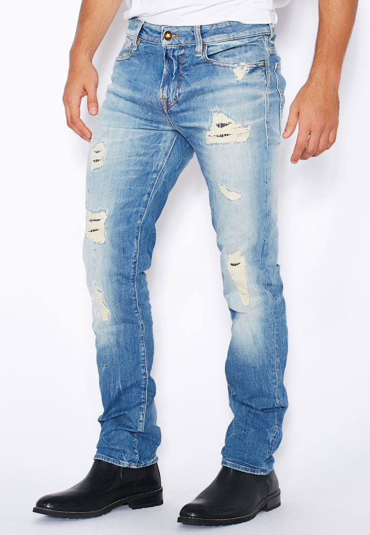 Blue Ripped Jeans Men