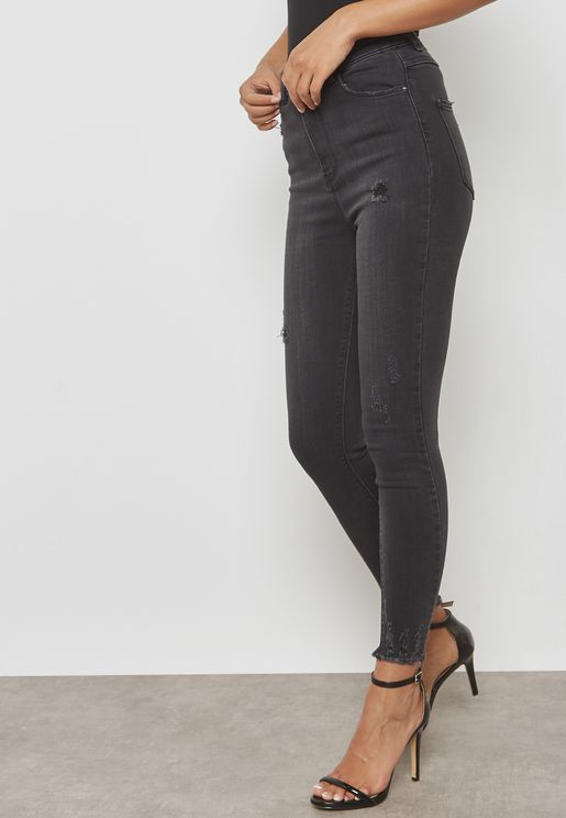 Raw Hem High Waisted Skinny Jeans
