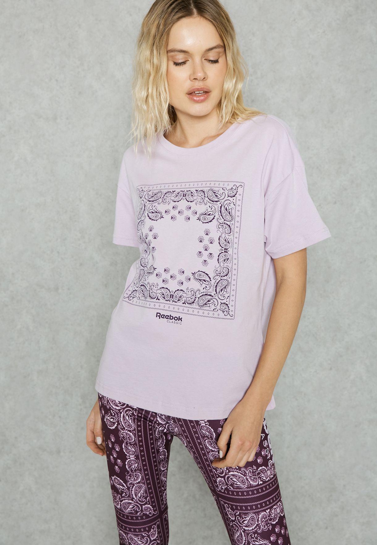 3952fc942a5a Shop Reebok purple Havana T-Shirt BK2810 for Women in Qatar ...