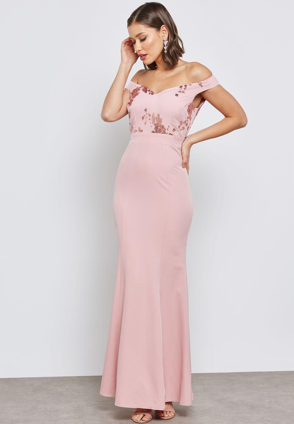 Embellished Bardot Dress