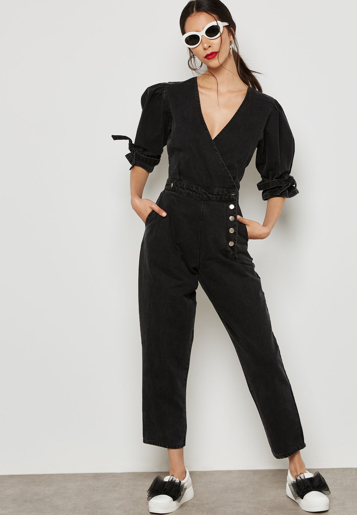 5ba08759ba4f Shop Lost Ink black Puff Sleeve Jumpsuit 1001114040670000 for Women ...