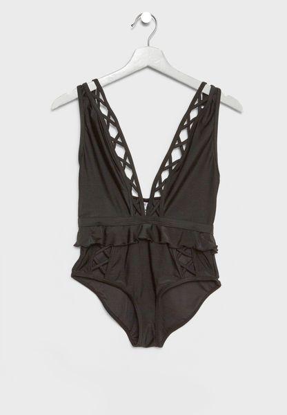 Ruffle Lattice Detail Plunge Swimsuit