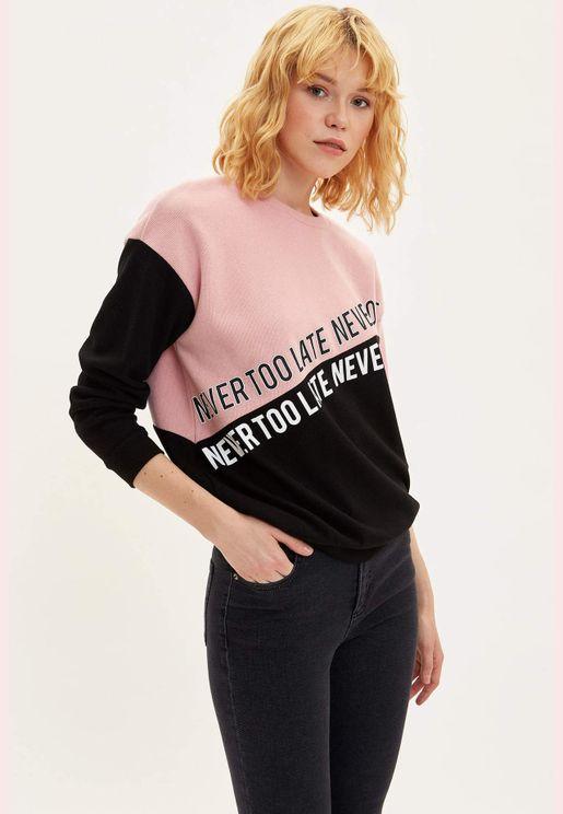 Woman Regular Fit Shirt Neck Sweat Shirt