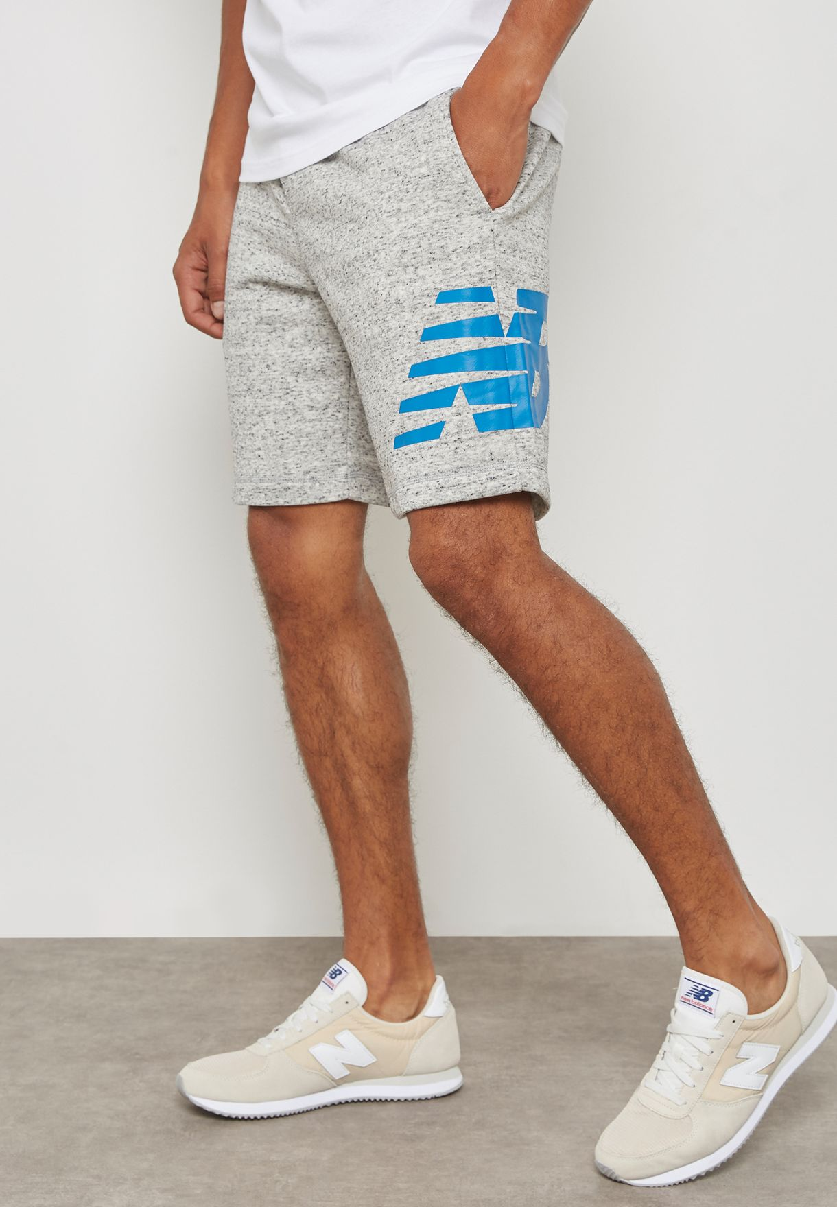 3ac10e0854811 Shop New Balance grey Essential Shorts MS81536HG for Men in UAE ...