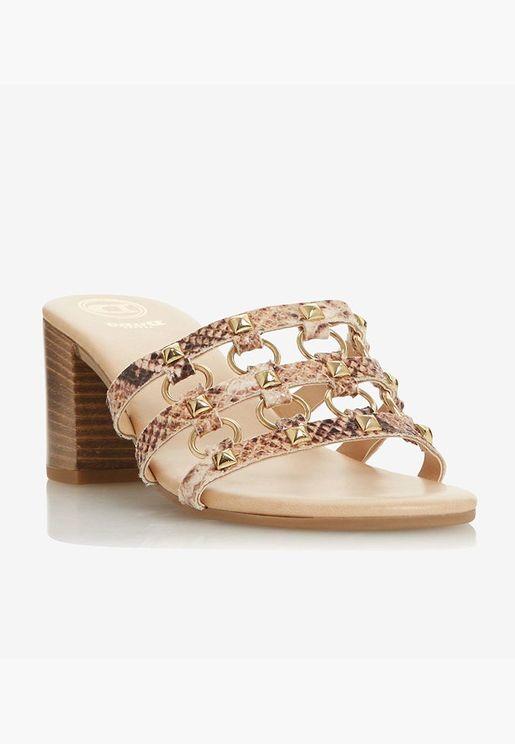 Metallic Embellishment Open Toe Block Heeled Sanda