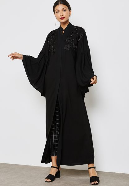 Embroidered Handwork Yoke Abaya