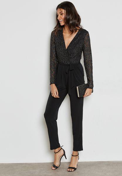 Shimmer Top Belted Jumpsuit