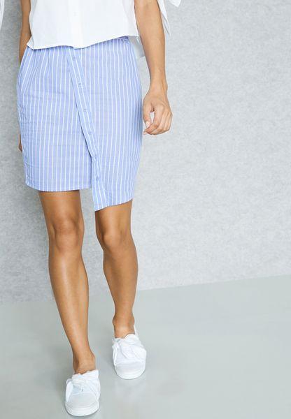 Asymmetric Button Detail Skirt