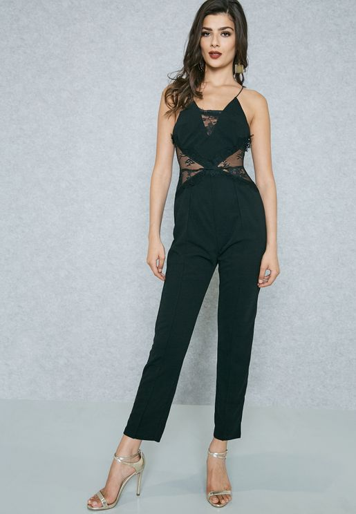 Open Back Lace Panel Jumpsuit