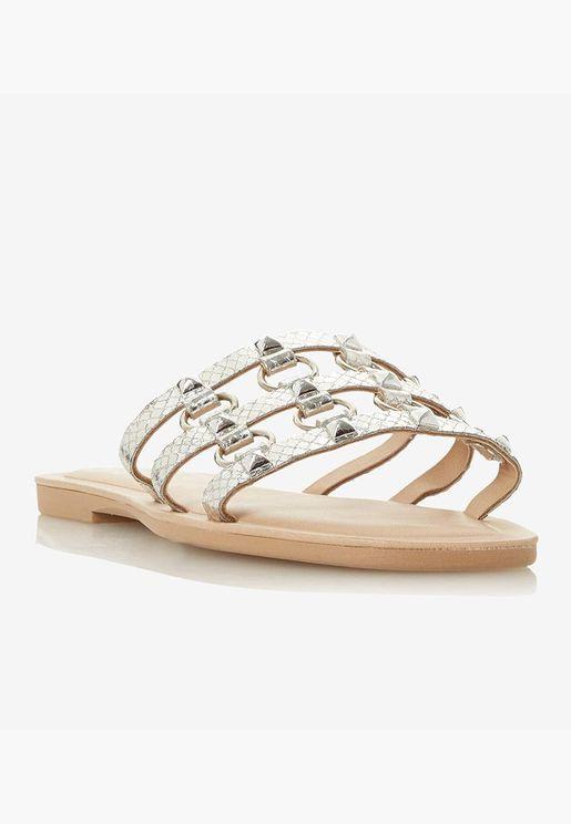 Metallic Embellished Open Toe Flats - Silver