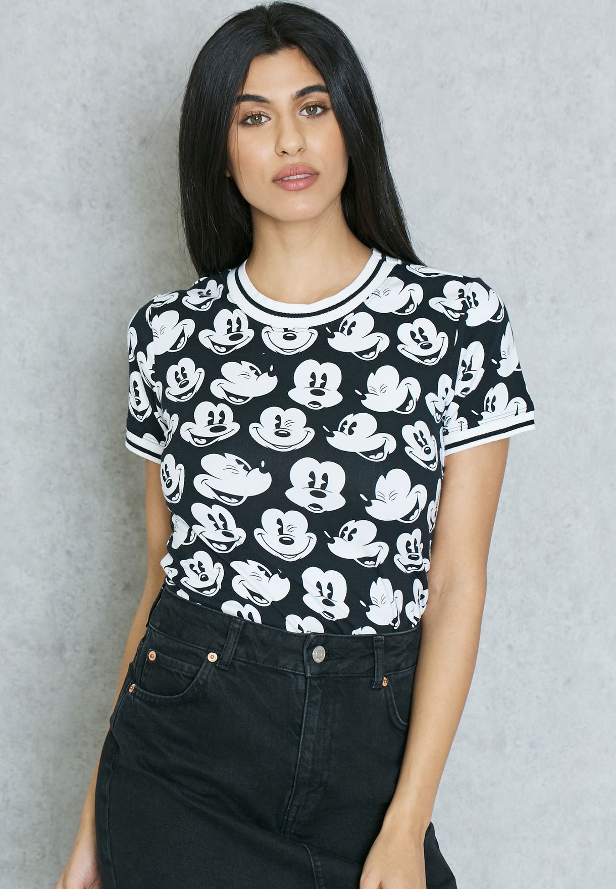 930f6b4ef Shop Forever 21 monochrome Mickey Mouse Printed T-Shirt 197236 for ...