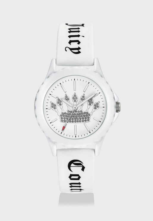 White Silicon Strap Analog Watch