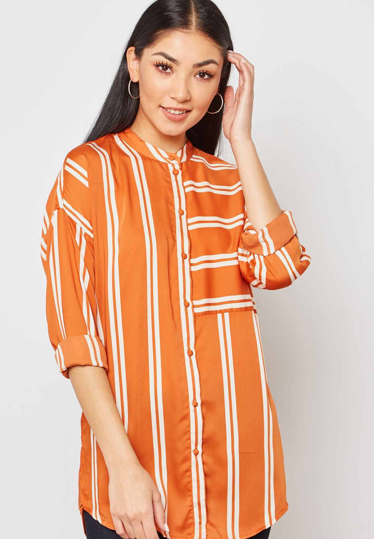 439d9b6d9c Shop Vero Moda orange Striped Longline Shirt 10210856 for Women in ...
