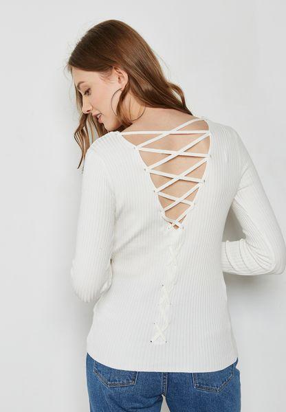 Lattice Back Ribbed Sweater