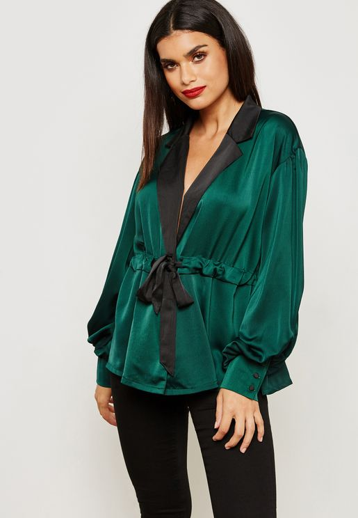 Contrast Wrap Front Top Satin Top