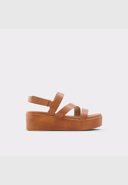 ALDO PERWELL Women Synthetic Leather Shoes Wedge Heel Heel Euro 42.5 Brown