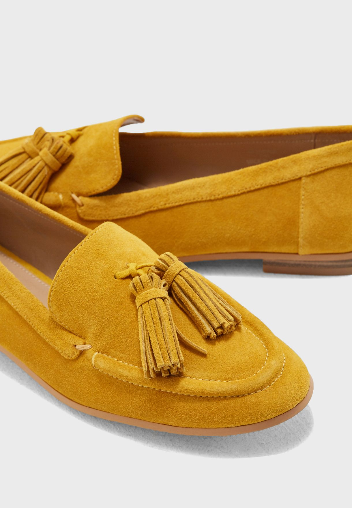 9a5f817febe Shop Topshop yellow Lexi Suede Loafers 42L01PYLW for Women in Oman ...